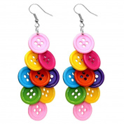 Multi-Coloured Bright Diamond Cluster Button Drop Earrings