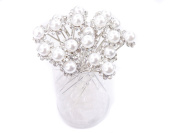 White Faux Pearl Crystal Flower Hair Pins Ideal for Bridal Party, Bridesmaids, Proms, Pageants Hair Pins, Pack of 20 by Skyblue