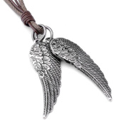 Leather Angel Wing Jewellery JOVIVI Unisex-Pendant with 53 cm Chain Leather Rope, Vintage Necklace Ladies Gentlemen, Tibet Brown Surfer Chain Silver, with Gift Bag