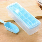 EQLEF® Ice Cube Trays with Lids 12 Ice Cube Easy Release No Spill Ice Cube Tray with Removable Cover large Ice Cube mould with Sealed Box Free Get Ice Scraper