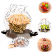 Funnytoday Best- Foldable Steam Rinse Strain Fry Chef Basket Magic Basket Mesh Basket Strainer Net Kitchen Cooking Tool
