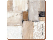 Creative Tops Neutral Abstract Premium Cork-Backed Square Placemats, Wood/MDF, Brown, 4-Piece