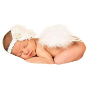 Sanwood Baby Girl Headband with Angel Feather Wing Costume Photo Prop Outfit