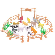 Homgaty 15 Pcs Plastic Model Farm Animal Figures Set Kids Education Toy Set with Fence
