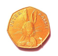 2016 Beatrix Potter Peter Rabbit 24 carat Gold Plated 50p Fifty Pence Coin with Capsule Airtite Holder Uncirculated