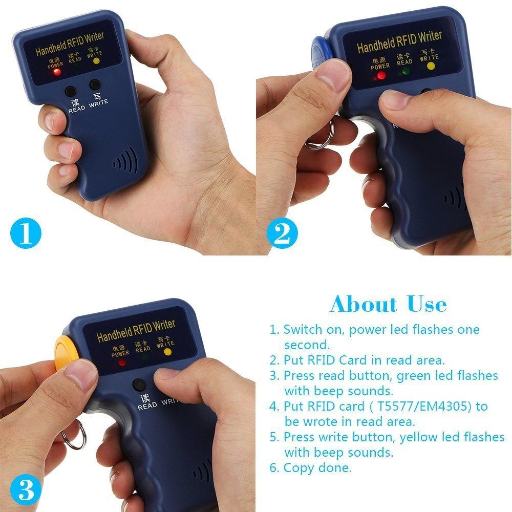 KKmoon 125KHzRFID Reader Writer Copier Duplicater Portable Handheld 125KHz  RFID HID/ID Card Writer/Copier Duplicator Writable Duplicator