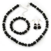 Jet Black Glass Bead Necklace, Flex Bracelet & Drop Earrings Set With Diamante Rings - 40cm Length/ 6cm Extension