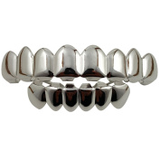 24K White Gold Plated 8 Tooth Grillz + 2 Extra Moulding Bars