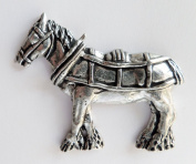 Shire Heavy Horse In Harness Pewter Pin Badge - Hand Made in Cornwall