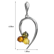 Multicolor Amber Sterling Silver Three Circles Pendant
