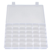 OULII Adjustable 36-Grid Jewellery Organiser Box Storage Container Case with Removable Dividers Clear