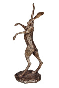 New Hyacinth - The Dancing boxing hare cold cast bronze sculpture by Paul Jenkins