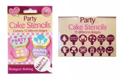 QUEEN OF CAKES PARTY CAKE STENCILS 12 DESIGNS NEW ** BIRTHDAY BAKING CUPCAKE