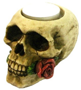 Gothic Skull With Rose Candle Holder Figurine Ornament