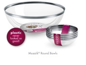 Thali Outlet - 4 x Sabert Clear Plastic 27cm 3.5L Salad Serving Bowls Silver Rim For Birthday Weddings All Occasions