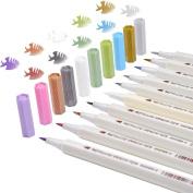 Metallic Marker Pens Brush Pens Set for DIY or Card Making, Pack of 10, Assorted Colours