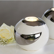 Extravagant and Modern Tea Candle Lamp - Tea Light Holder - Creole - Ceramic White/Silver - Diameter 12cm