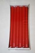 12 x red High Quality 23mm x 250mm tapered dinner (bistro style) church candles
