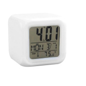 2016 new LED 7 Colour Glowing Change Digital Glowing Alarm Thermometer Clock Cube