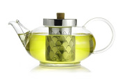 The Tea Makers of London 1200ml Glass Teapot with Stainless Steel Infuser and Coil Filter
