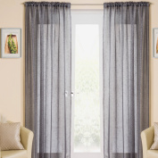 "Grey Sparkle Voile Curtain Panel Slotted Top 54"" Wide x 90"" Drop"