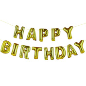 Talking Tables Party Time Happy Birthday Golden Balloon Banner Bunting, Multicolour, 34x5x24 cm