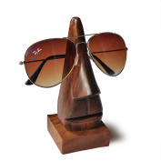 Dungri India Handmade Wooden Nose Shaped 17cm Spectacle Holder Specs Stand - Eye Glass Holder For table top display.
