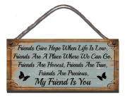 Shabby Chic Wooden Funny Sign Wall Plaque Friends Give Hope When Life Is Low, Friends Are A Place Where We Can Go, Friends Are Honest, Friends Are True, Friends Are Precious, My Friend Is You Gift Present