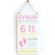 Baby Girl's Name, Weight, Time, Location & Date Of Birth - Newborn Girl Personalised Wooden Sign Gift