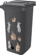 Top Quality Designer Wheelie Bin Self Adhesive Stickers For Dustbins Fridge Caravan Household Items [ Rabbit Design ]