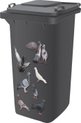 Top Quality Designer Wheelie Bin Self Adhesive Stickers For Dustbins Fridge Caravan Household Items [ Pigeon Design ]