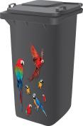 Top Quality Designer Wheelie Bin Self Adhesive Stickers For Dustbins Fridge Caravan Household Items [ Parrot Design ]