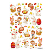 Happy Easter Coloured Eggs Bunny Basket Stickers - set of 42 stickers - Seasonal Decorations