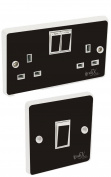 Black Gloss Light Switch & Double Socket Sticker Vinyl / Skin cover