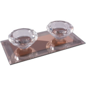 Silver Sparkle Lines Glass Diamond Double Tealight Holder - Orange