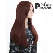 HairPhocas® Medium Long Brownish Red Curly Hair For Full Hair Wigs