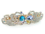 Jewelled Butterfly Barrette Rose Gold Tone Metal with Multi Coloured Rhinestones