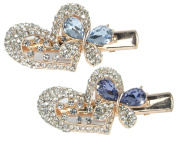 Jewelled Heart & Butterfly Hair Clips Gold Metal with Decorative Purple & Blue Rhinestone Crystals - Set of 2