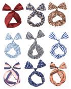 Cloris Twist Bow Wired Headbands Scarf Wrap Hair Accessory