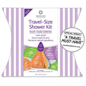 The Travel-Size Shower Kit. 12 Single-Use Leak-Proof Pods - 4 Each Sulphate-Free & Colour Safe Natural Shampoo, Conditioner & Body Wash. TSA Approved. Made in USA.