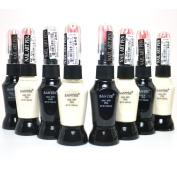 SANTEE 4 WHITE + 4 BLACK colour NAIL ART PEN BRUSH DECORATION POLISH + FREE EARRING