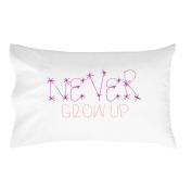Oh, Susannah Never Grow up Pillow Case for Kids Hot Pink and Light Pink
