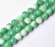 Natural Multi-Tones Green Jade Beads Smooth Polished Round 6mm-12mm 15.4 Inch Full Strand for Jewellery Making (GJ29)