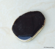 Jet Black Agate Quartz Druzy Faceted Bead. Gold Edge - Slab Bead Stone - Centre Drilled - 40mm x 50mm