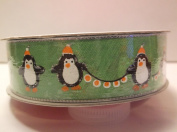 Celebrate It *Green with Penquins* Holiday Ribbon