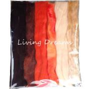 Living Dreams Multi Fibre Sampler for Felting, Spinning, Doll Making, Paper Crafts and Embellishments. Super soft Merino Roving, hand dyed Lustre Wool and sparkling Firestar Fibre. 30ml, Orange