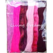 Living Dreams Multi Fibre Sampler for Felting, Spinning, Doll Making, Paper Crafts and Embellishments. Super soft Merino Roving, hand dyed Lustre Wool and sparkling Firestar Fibre. 30ml, Pink