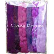 Living Dreams Multi Fibre Sampler for Felting, Spinning, Doll Making, Paper Crafts and Embellishments. Super soft Merino Roving, hand dyed Lustre Wool and sparkling Firestar Fibre. 30ml, Purple