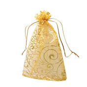Akak Store 100pc 10 x 12 Cm /3.9 x 4.7 Inches Beautiful Gold Champagne Eyelash Organza Drawstring Pouches Candy Jewellery Party Wedding Favour Gift Bags Pouch Bags