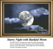 Starry Night with Bashful Moon, Skyscapes Cross Stitch Pattern